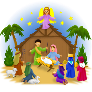 Jesus in Manger Nativity scene Christmas Carols